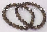 CGB4552 7.5 inches 7mm - 8mm round black sunstone beaded bracelets