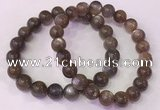 CGB4553 7.5 inches 9mm - 10mm round black sunstone beaded bracelets
