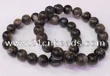CGB4557 7.5 inches 10mm - 11mm round black sunstone beaded bracelets