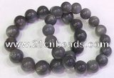 CGB4584 7.5 inches 13mm - 14mm round black sunstone beaded bracelets