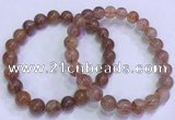 CGB4629 8mm - 9mm round red rutilated quartz beaded bracelets