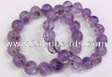 CGB4664 14mm - 15mm round purple phantom quartz beaded bracelets