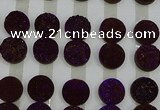 CGC145 20mm flat round druzy quartz cabochons wholesale