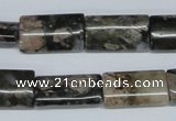 CGE06 15.5 inches 12*20mm flat tube glaucophane gemstone beads