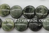 CGH17 15.5 inches 10mm flat round green hair stone beads wholesale