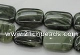 CGH26 15.5 inches 10*14mm rectangle green hair stone beads wholesale