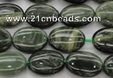 CGH45 15.5 inches 13*18mm oval green hair stone beads wholesale
