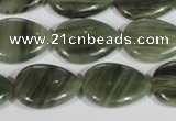 CGH54 15.5 inches 13*18mm flat teardrop green hair stone beads