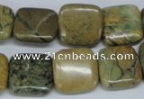 CGJ03 15.5 inches 16*16mm square green line jasper beads wholesale