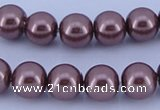 CGL126 5PCS 16 inches 12mm round dyed glass pearl beads wholesale