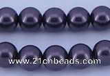 CGL136 5PCS 16 inches 12mm round dyed glass pearl beads wholesale