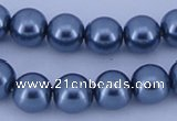 CGL236 5PCS 16 inches 12mm round dyed glass pearl beads wholesale