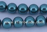 CGL245 5PCS 16 inches 10mm round dyed glass pearl beads wholesale