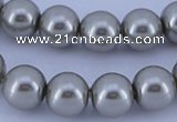 CGL373 10PCS 16 inches 6mm round dyed glass pearl beads wholesale