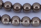 CGL93 10PCS 16 inches 6mm round dyed glass pearl beads wholesale