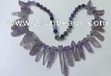 CGN187 23 inches 8*20mm - 11*60mm amethyst stick necklaces