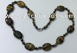 CGN205 22 inches 6mm round & 18*25mm oval yellow tiger eye necklaces