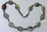CGN215 22 inches 6mm round & 18*25mm oval agate necklaces