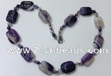 CGN234 22 inches 6mm round & 18*25mm rectangle agate necklaces
