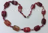 CGN238 22 inches 6mm round & 18*25mm rectangle agate necklaces