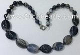 CGN251 20.5 inches 8mm round & 18*25mm oval agate necklaces