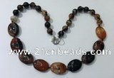 CGN252 20.5 inches 8mm round & 18*25mm oval agate necklaces