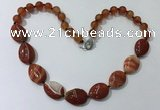 CGN260 20.5 inches 8mm round & 18*25mm flat teardrop agate necklaces
