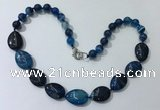 CGN261 20.5 inches 8mm round & 18*25mm flat teardrop agate necklaces
