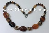 CGN273 18.5 inches 8mm round & 18*25mm oval agate beaded necklaces