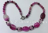 CGN274 18.5 inches 8mm round & 18*25mm oval agate beaded necklaces