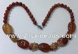 CGN275 18.5 inches 8mm round & 18*25mm oval agate beaded necklaces