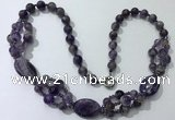 CGN291 24.5 inches chinese crystal & amethyst beaded necklaces