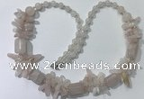 CGN300 27.5 inches chinese crystal & rose quartz beaded necklaces