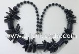 CGN305 27.5 inches chinese crystal & blue goldstone beaded necklaces