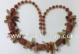 CGN306 27.5 inches chinese crystal & red agate beaded necklaces