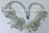 CGN334 20.5 inches chinese crystal & opal beaded necklaces