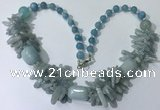 CGN335 20.5 inches chinese crystal & mixed gemstone beaded necklaces
