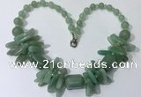 CGN336 20.5 inches chinese crystal & green aventurine beaded necklaces