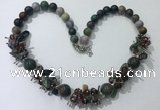 CGN357 19.5 inches chinese crystal & Indian agate beaded necklaces