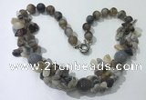 CGN378 19.5 inches round & chips grey agate beaded necklaces