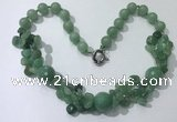 CGN380 23 inches round & chips green aventurine beaded necklaces