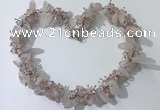 CGN400 19.5 inches chinese crystal & rose quartz chips beaded necklaces