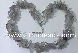 CGN401 19.5 inches chinese crystal & light amethyst chips beaded necklaces