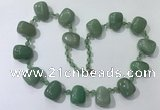 CGN442 21.5 inches freeform green aventurine beaded necklaces