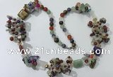 CGN452 25.5 inches chinese crystal & mixed gemstone beaded necklaces