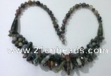 CGN467 22 inches chinese crystal & Indian agate beaded necklaces