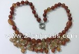 CGN481 21.5 inches chinese crystal & striped agate beaded necklaces