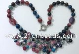 CGN486 21.5 inches chinese crystal & striped agate beaded necklaces