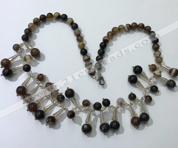 CGN496 21 inches chinese crystal & striped agate beaded necklaces