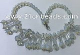 CGN500 21 inches chinese crystal & opal beaded necklaces